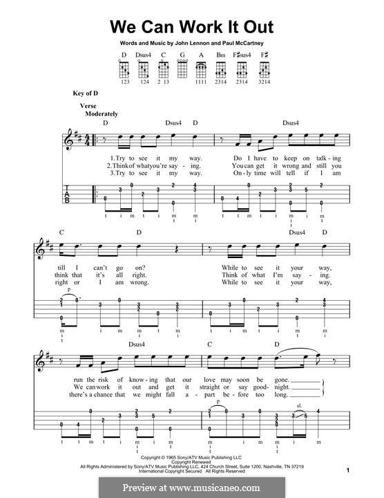 We Can Work it Out (The Beatles): For banjo by John Lennon, Paul McCartney