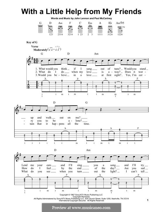 With a Little Help from My Friends (The Beatles): For banjo by John Lennon, Paul McCartney