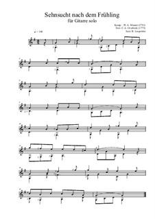 Sehnsucht nach dem Frühling, K.596: Für Gitarre by Wolfgang Amadeus Mozart