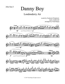 Danny Boy (Londonderry Air): For saxophone quintet - alto sax 1 part by folklore