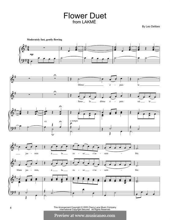 The Flower Duet: Für Stimmen und Klavier by Léo Delibes