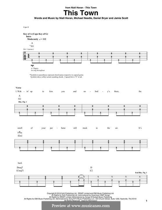 This Town: Für Gitarre mit Tabulatur by Jamie Scott, Niall Horan, Daniel Bryer, Mike Needle