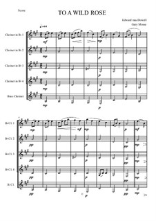 No.1 To a Wild Rose: For quintet clarinets by Edward MacDowell