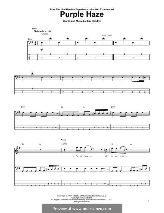 Purple Haze: Für Bassgitarre mit Tabulatur by Jimi Hendrix