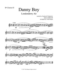 Danny Boy (Londonderry Air): For clarinet quintet - B flat clarinet II part by folklore