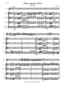 Concerto for Oboe and Strings in B Flat Major, RV 464: Score and parts by Antonio Vivaldi