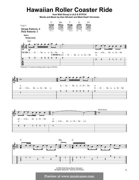 Hawaiian Roller Coaster Ride: Für Gitarre mit Tabulatur by Alan Silvestri, Mark Keali'i Ho'omalu
