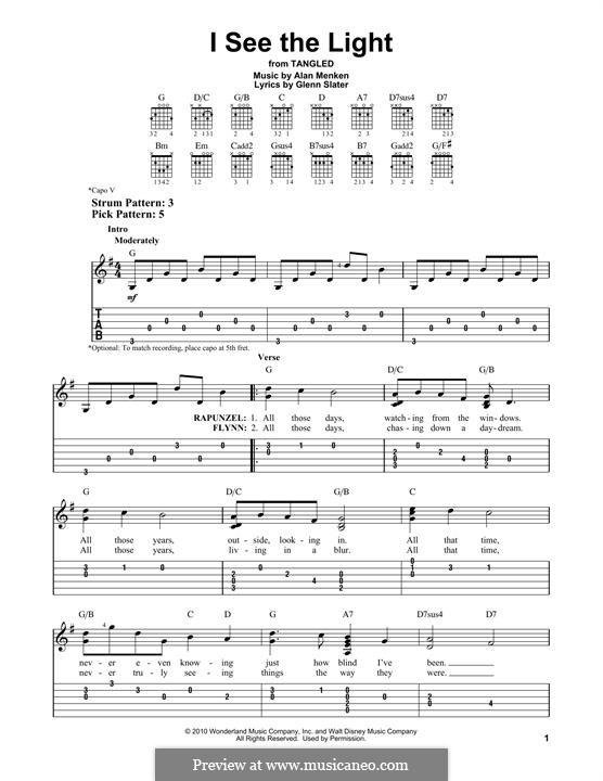 I See the Light: Für Gitarre mit Tabulatur by Alan Menken
