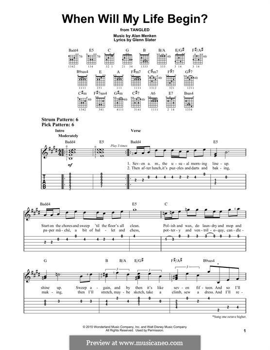 When Will My Life Begin: Für Gitarre mit Tabulatur by Alan Menken