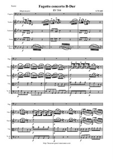 Concerto for Fagotto and Strings in B Flat Major, RV 504: Score and all parts by Antonio Vivaldi