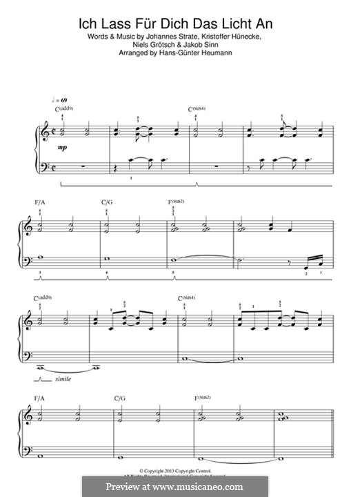 Ich Lass für Dich das Licht an (Revolverheld): Für Klavier by Johannes Strate, Kristoffer Hünecke, Niels Grötsch, Jacob Sinn