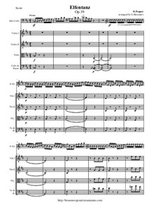 Elfentanz, Op.39: For cello and string orchestra - score and all parts by David Popper