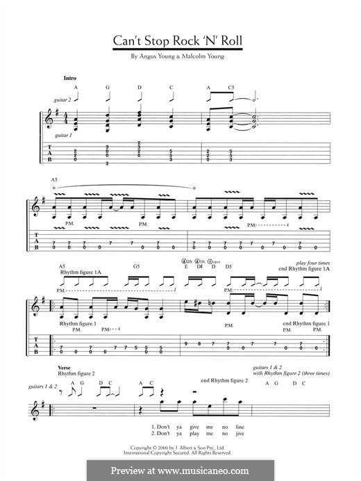 Can't Stop Rock 'n' Roll (AC/DC): Für Gitarre mit Tabulatur by Angus Young, Malcolm Young