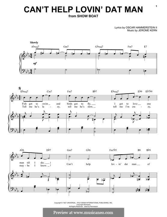 Can't Help Lovin' Dat Man (from Show Boat): Für Stimme und Klavier by Jerome Kern
