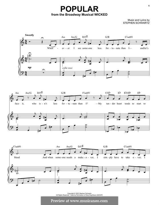 Popular: Für Stimme und Klavier by Stephen Schwartz