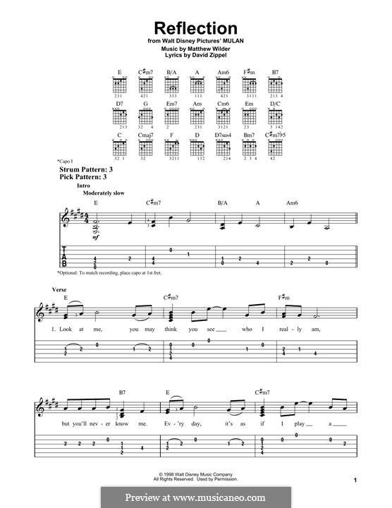 Reflection (from Disney's Mulan): Für Gitarre mit Tabulatur by Matthew Wilder