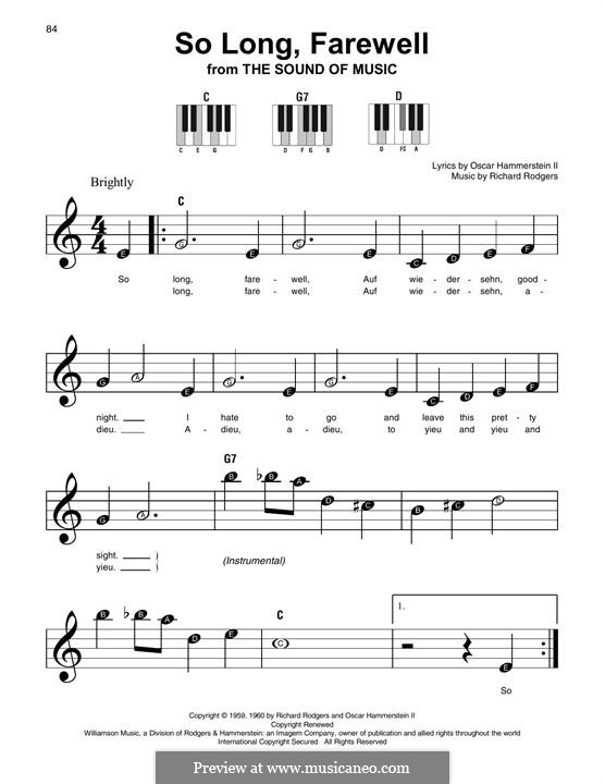So Long, Farewell (from The Sound of Music): For any instrument by Richard Rodgers