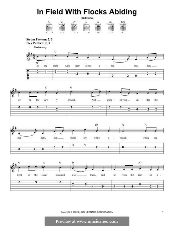 In the Field with Their Flocks Abiding: Für Gitarre mit Tabulatur by folklore