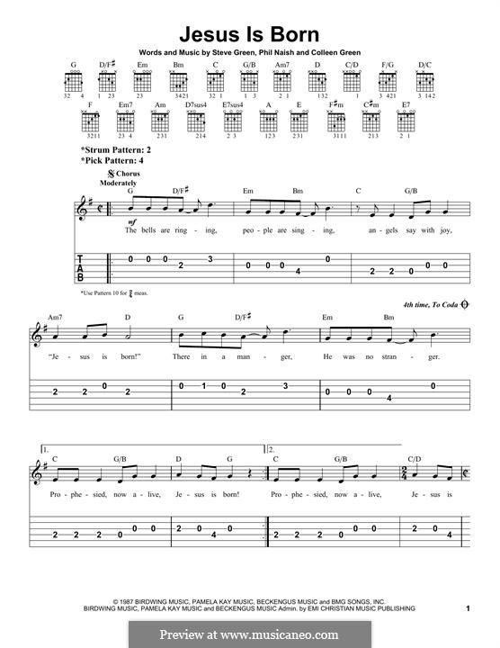 Jesus Is Born (Steve Green): Für Gitarre mit Tabulatur by Colleen Green, Phil Naish
