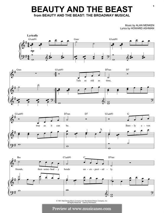 Beauty and the Beast (Celine Dion and Peabo Bryson): Für Stimme und Klavier by Alan Menken