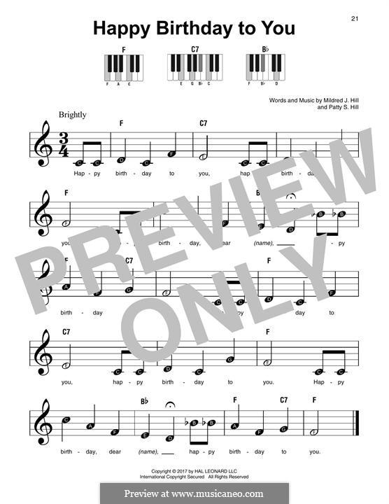 Zum Geburtstag viel Glück: For any instrument by Mildred Hill