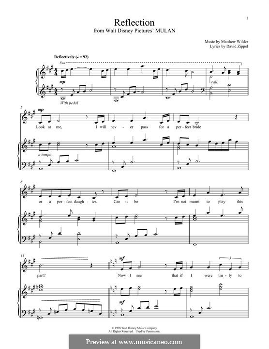 Reflection (from Disney's Mulan): Für Stimme und Klavier by Matthew Wilder