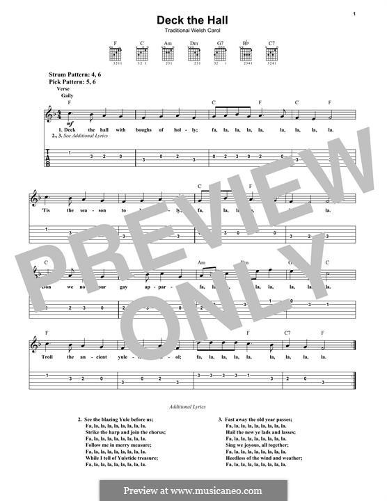 Deck the Hall (Printable): Für Gitarre mit Tabulatur by folklore