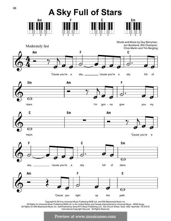 A Sky Full of Stars (Coldplay): For any instrument by Chris Martin, Guy Berryman, Jonny Buckland, Avicii, Will Champion