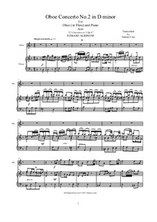 Dodici concerti a cinque, Op.9: Concerto No.2 in d minor, for oboe or flute and piano by Tomaso Albinoni