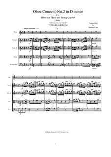Dodici concerti a cinque, Op.9: Concerto No.2 in d-moll, for oboe or flute and string quartet by Tomaso Albinoni