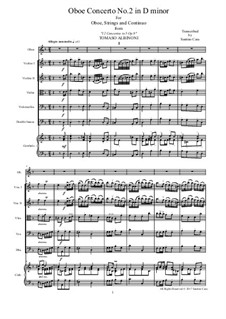 Dodici concerti a cinque, Op.9: Concerto No.2 in d minor - score and parts by Tomaso Albinoni
