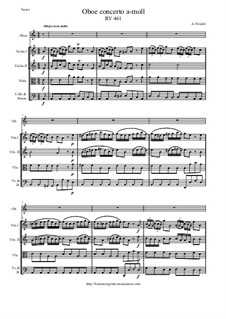Concerto for Oboe and Strings in A Minor, RV 461: Score and parts by Antonio Vivaldi