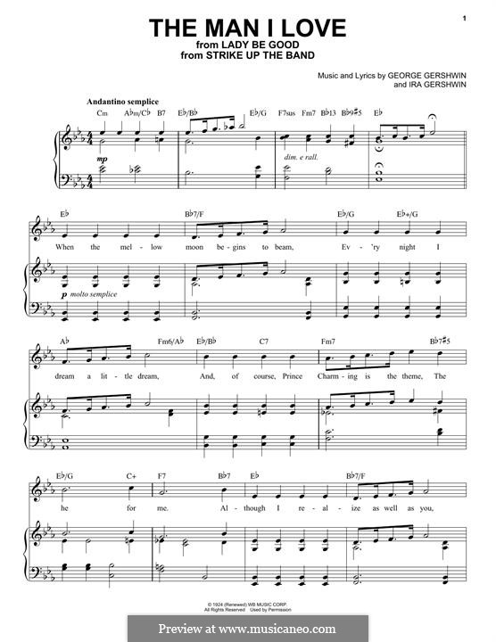 The Man I Love: Für Stimme und Klavier by George Gershwin