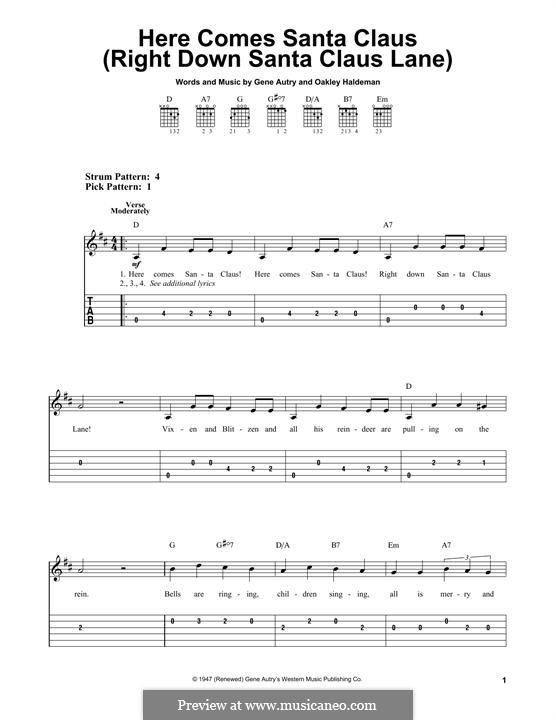 Here Comes Santa Claus (Right Down Santa Claus Lane): Für Gitarre mit Tabulatur by Gene Autry, Oakley Haldeman