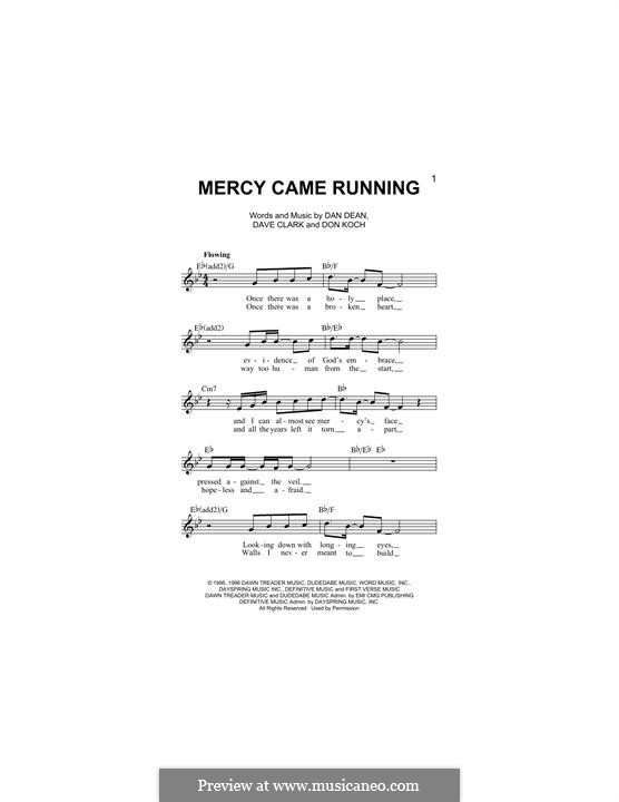 Mercy Came Running (Phillips, Craig & Dean): Melodische Linie by Dave Clark, Don Koch, Dan Dean