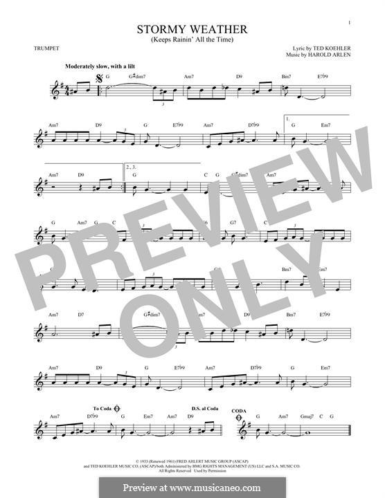 Stormy Weather (Lena Horne): Für Trompete by Harold Arlen