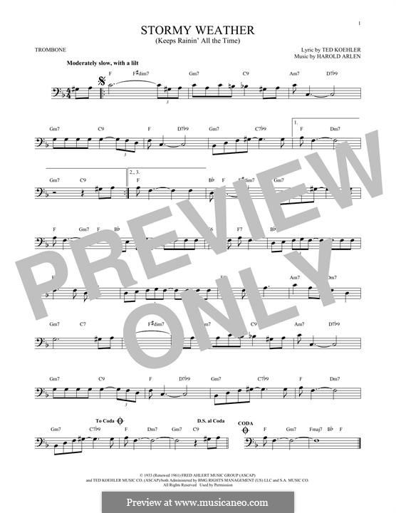 Stormy Weather (Lena Horne): For trombone by Harold Arlen