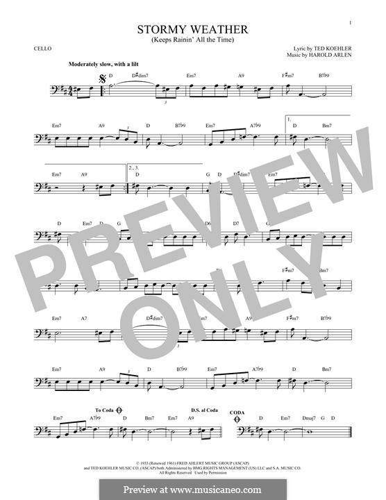 Stormy Weather (Lena Horne): Für Cello by Harold Arlen