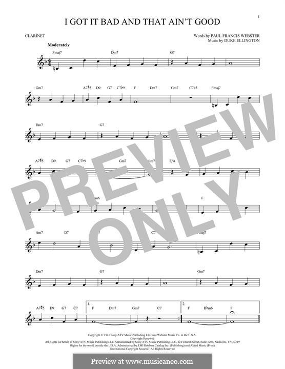I Got It Bad and That Ain't Good: Für Klarinette by Duke Ellington