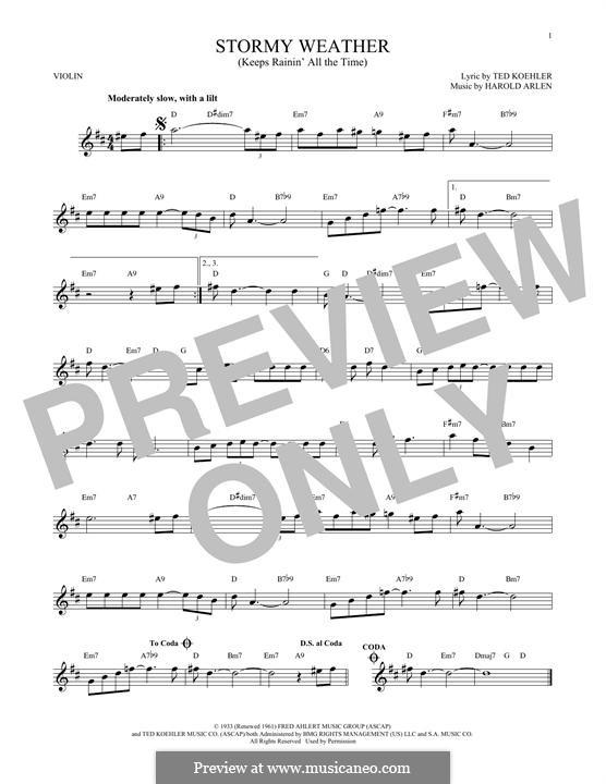 Stormy Weather (Lena Horne): Für Violine by Harold Arlen