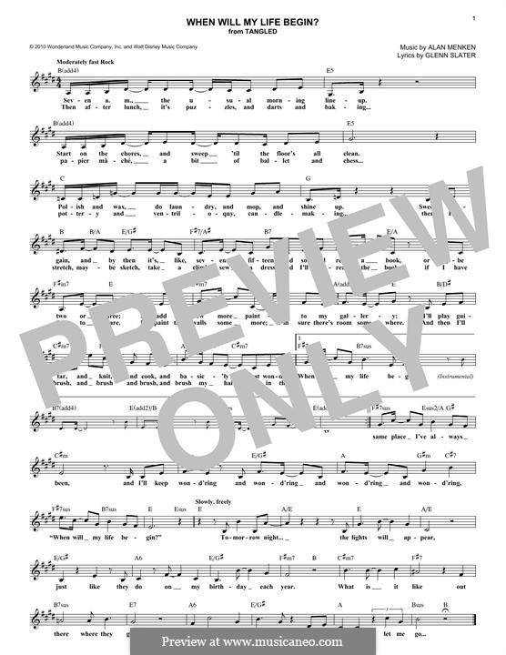 When Will My Life Begin: Melodische Linie by Alan Menken