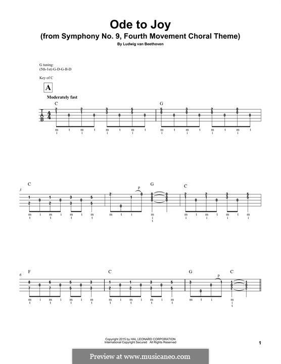 Ode an die Freude: Versiosn for banjo by Ludwig van Beethoven