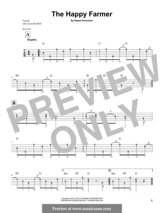 Nr.10 Fröhlicher Landmann: For banjo by Robert Schumann