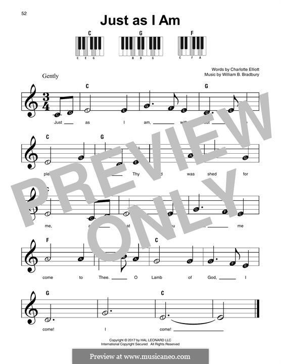 Just as I am: For any instrument by William Batchelder Bradbury