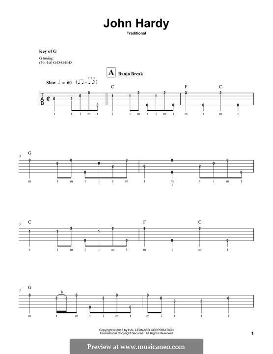 John Hardy: For banjo by folklore