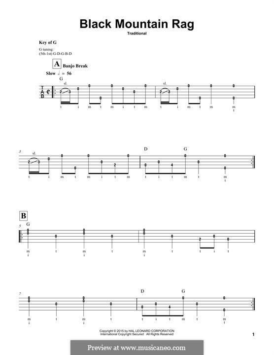 Black Mountain Rag: For banjo by folklore