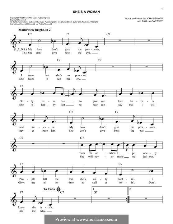 She's a Woman (The Beatles): Melodische Linie by John Lennon, Paul McCartney