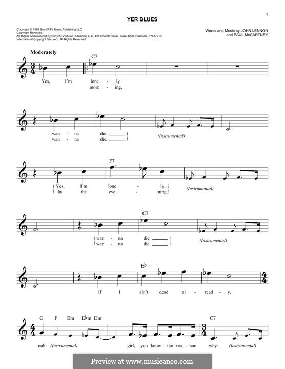 Yer Blues (The Beatles): Melodische Linie by John Lennon, Paul McCartney