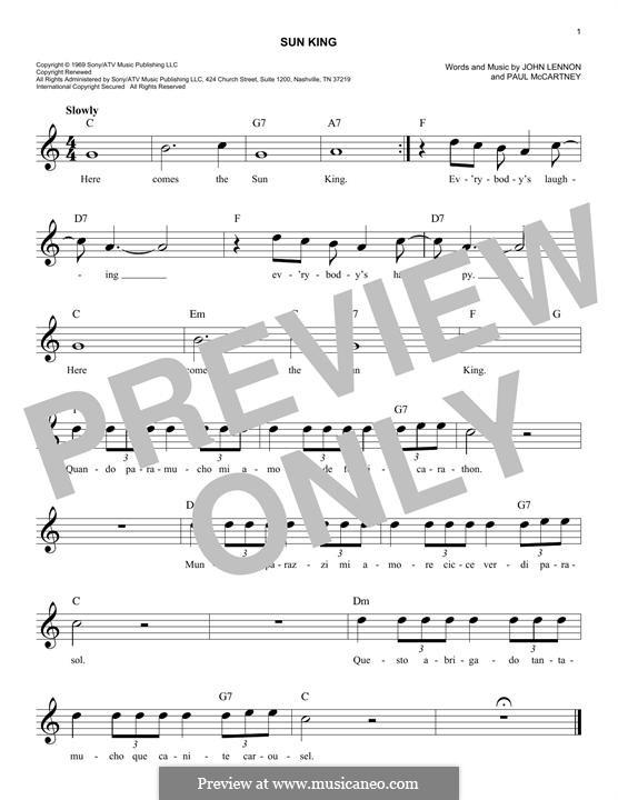 Sun King (The Beatles): Melodische Linie by John Lennon, Paul McCartney