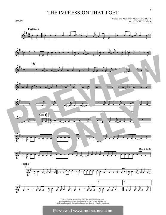 The Impression That I Get (The Mighty Mighty Bosstones): Für Violine by Dicky Barrett, Joe Gittleman